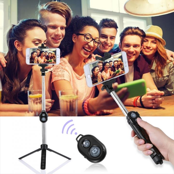 Bluetooth Shutter Selfie Stick + Tripod Monopod Sticks Remote Control Stand Holder bluetooth button black 25*5*5