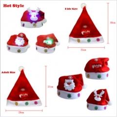 2pcs Hot Kids Adult LED Christmas Hat Santa Claus Reindeer Snowman Xmas Gifts Cap 2pcs random 12*17*19