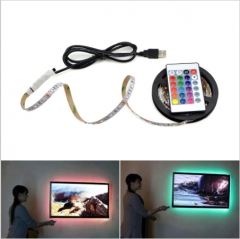 USB Powered 5V RGB LED Strip light 60leds/m 3528 SMD Non-Waterproof Tape For TV Background Lighting AS PICTURE 0.5M 50