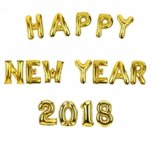16inch 34cm Happy New Year 2018 Gold Balloons Merry Christmas Party Decorations for Home Snowman HAPPY NEW YEAR 16INCH