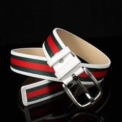 NATA-06 Fashion Mens Canvas Belt Buckle Metal Pin Tactical Belt Men Strap Belt red&blue 3.8*130