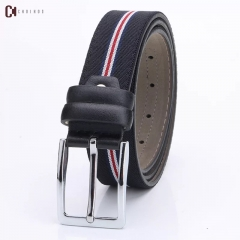NATA-09 Fashion Mens Canvas Belt Buckle Metal Pin Tactical Belt black 3.8*130