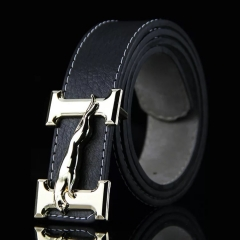 NATA-11Casual Mens Leather Belts Automatic Belt Buckle black 3.8*120