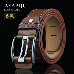 NATA-12 Fashion Men Long 110cm Jeans Belt Leather Double Pin Buckle Vintage Belts black 3.8*120