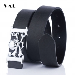 NATA-20 Valentine's Gift Punk Style Men Women Leather belt Novelty Big Skull Smooth buckle jeans black 3.8*120