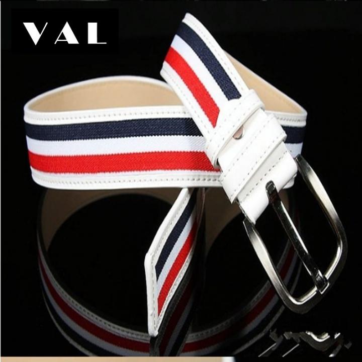 NATA-06 Fashion Mens Canvas Belt Buckle Metal Pin Tactical Belt Men Strap Belt red&blue 3.8*130