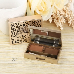 2 Colors Brow Powder Set Eyebrow Shadow Tattoo Makeup Waterproof Wax Paint Tin 01