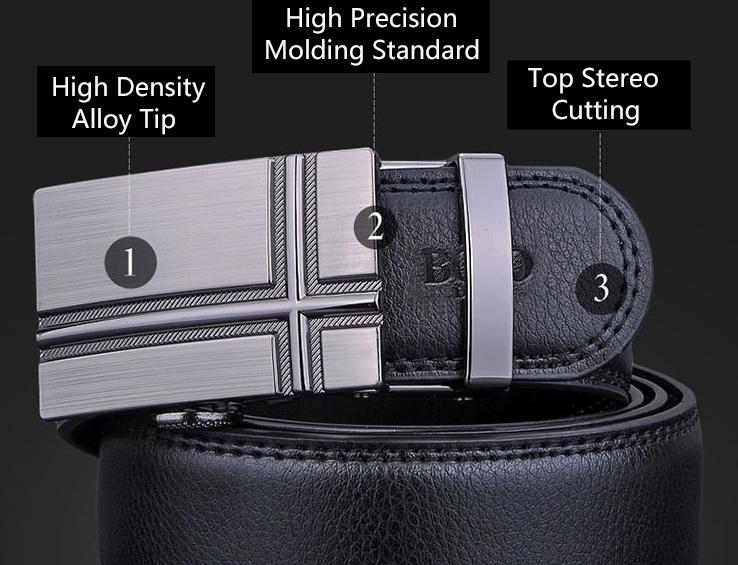 NATA-15 Automatic Buckle Cowhide Leather men belt Fashion Luxury belts for men black 3.8*120 3
