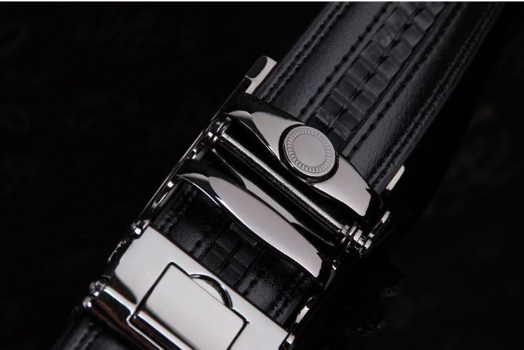 NATA-15 Automatic Buckle Cowhide Leather men belt Fashion Luxury belts for men black 3.8*120 6