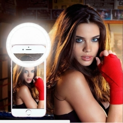 Universal Selfie Ring Flash Led Light Lamp Mobile Phone Lens LED Selfie Lamp Ring Flash For Iphone black as picture
