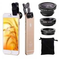 Universal Fish Eye 3in1 + Clip Fisheye Smartphone Camera Lens Wide Angle Macro Mobile Phone Lents black as picture