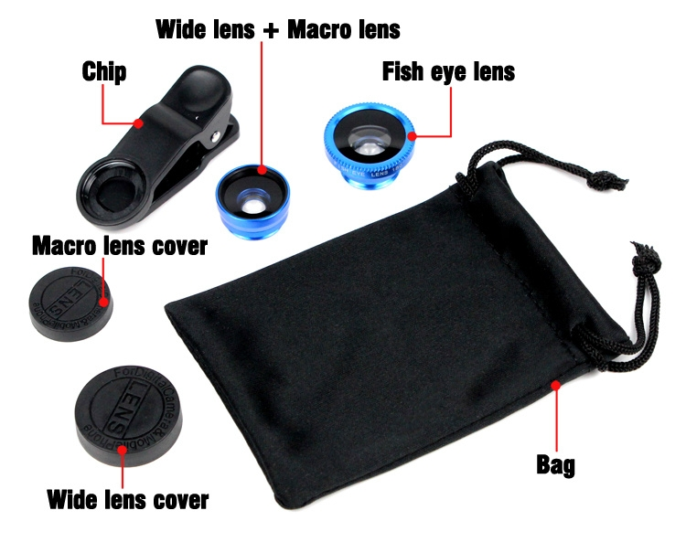 Universal Fish Eye 3in1 + Clip Fisheye Smartphone Camera Lens Wide Angle Macro Mobile Phone Lents blue as picture 13