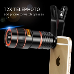 Universal 12X Optical Zoom Mobile Phone Telescope External Replacement Smartphone Camera Lens Kits black as picture