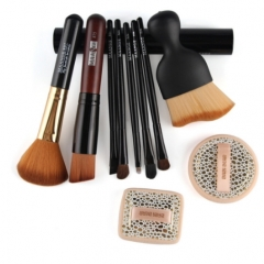 Practical Basic 10 in 1 Facial Cosmetic Tool Set  Makeup Brushes and 2 pcs Shadow Powder Puff as picture