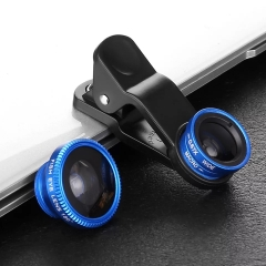 Universal Fish Eye 3in1 + Clip Fisheye Smartphone Camera Lens Wide Angle Macro Mobile Phone Lents blue as picture