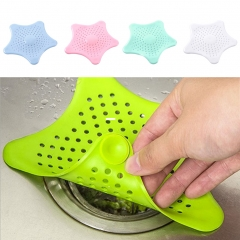 Colorful Bath Hair Catcher Stopper Shower Drain Filter Trap Silione Sink Strainer Kitchen Tools GREEN as picture