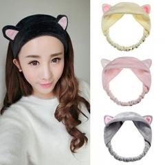 Cute Elastic Cat Ears Headbands for Women Girls Makeup Face Washing Headband Headwrap black as picture
