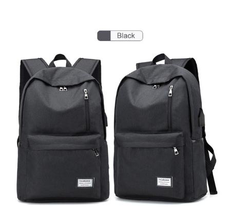 Backpack USB Charging Men Laptop Backpacks For Teenagers Male  Waterproof Travel Backpack School Bag BLACK AS PICTURE
