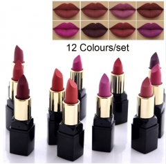 12pcs lip matte Lipstick Long Lasting Nutritious Lip Sticks Lip Balm Lips Makeup Batom Cosmetic as picture
