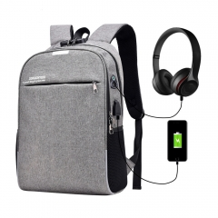 Luminous Anti Theft Password Locks Bag Men Bag USB Charging Backpack Business Travel Backpack Bags grey as picture