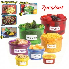 7pcs/set Perfect Portions Cute Lunchbox Tableware Control Containers Food Storage-Easy Way as picture as picture