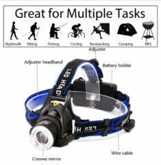 LED headlamp fishing headlight XML-T6 Zoomable lamp Waterproof Head Torch flashlight Head lamp only head lamp as picture as description