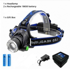LED headlamp fishing headlight  XML-T6 Zoomable lamp Waterproof Head Torch flashlight Head lamp lamp set as picture