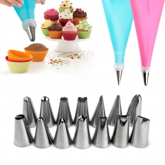 DIY Cake Decorating Tools 14 Pcs/Set Silicone Icing Piping Cream Pastry Bag Stainless Steel RANDOM as picture