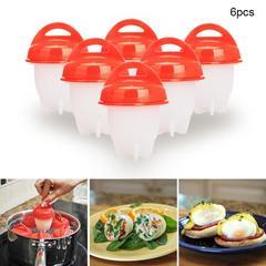 6pcs/set Hard Boil Egg Cooker  Without Shells Silicone Egg Cup   Kitchen Egg Gadgets pink