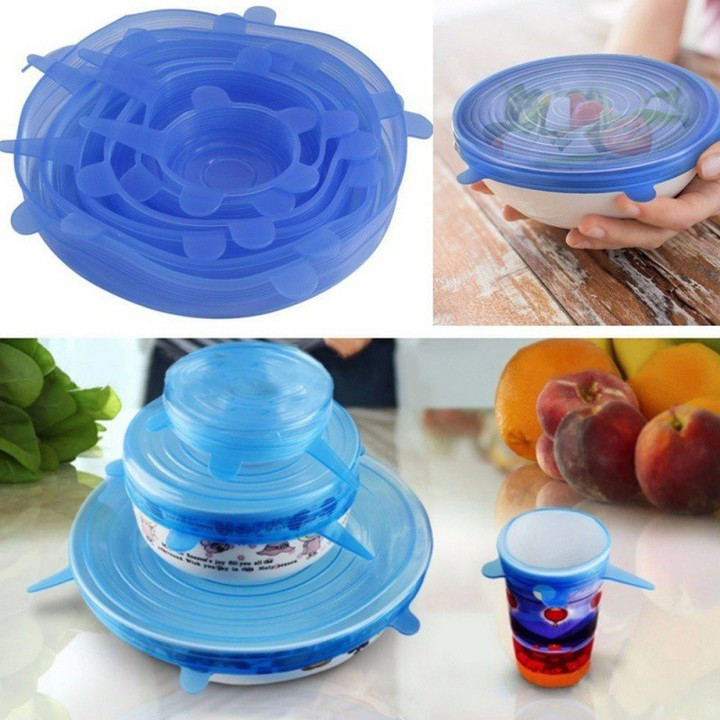 6Pcs/Set Universal Stretchable Silicone Saran Wrap Cover Kitchen  Preservation Tool as picture