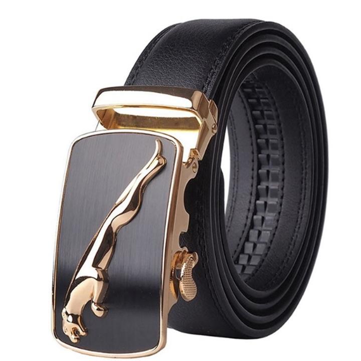 Automatic Buckle Cowhide Leather men belt Fashion Luxury belts for men black 3.8*130