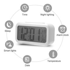 LED Display Digital Electronic Alarm Clock Backlight Temperature Control Time Calendar + Thermometer white as picture