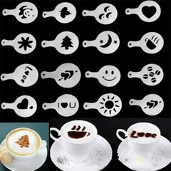 16Pcs Coffee Milk Gift Cupcake Stencil Template Mold Coffee Barista Cappuccino Template as picture as picture