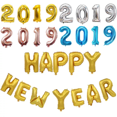 16inch 34cm Happy New Year 2019 Gold Balloons Merry Christmas Party Decorations for Home Snowman 2019 HAPPY NEW YEAR 16INCH