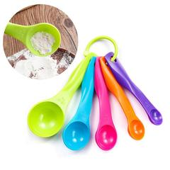 5pcs/set Measuring Spoons Colorful Plastic  Measure Spoon Super Useful Sugar Cake Baking Spoon as picture as picture