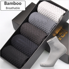 5pairs Men Bamboo Fiber Socks Business Anti-Bacterial Deodorant Breatheable Man Long Sock 5pairs AS PICS EU(38-45) EU(38-45)