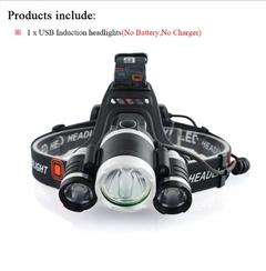 Sensor Induction headlamp led headlight flashlight headtorch 18650battery fishing  hoofdlamp SET A AS PICTURE AS DESCRIPTION