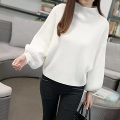 Women Heavy Sweaters And Pullovers Lantern Sleeve Knitted  Loose Half-Turtleneck Overcoat white free size