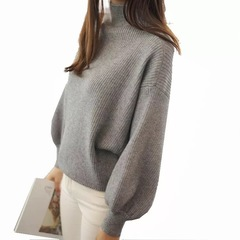 Women Heavy Sweaters And Pullovers Lantern Sleeve Knitted  Loose Half-Turtleneck Overcoat grey free size