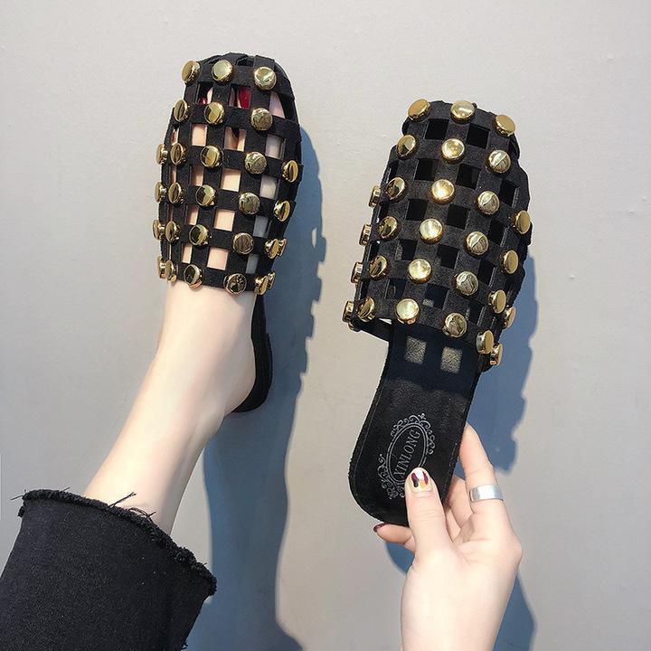 Fashion Elegant Women Sandal Slippers Flat Solid Pearl Metal Decoration Slides Flat With Casual BLACK2 40