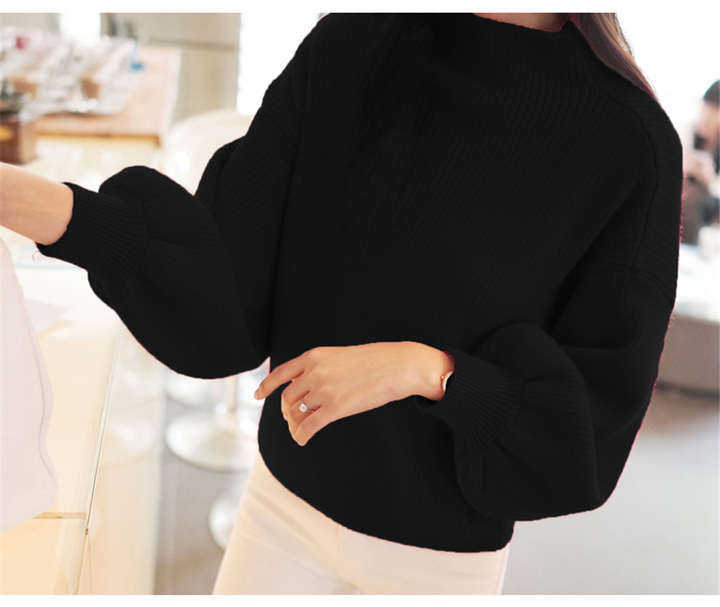 Women Heavy Sweaters And Pullovers Lantern Sleeve Knitted  Loose Half-Turtleneck Overcoat black free size