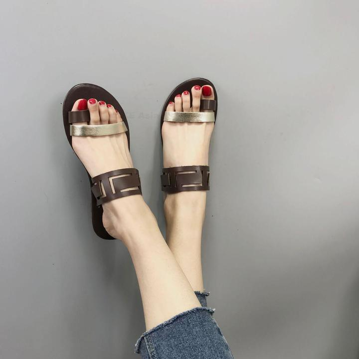 Summer Shoes Women Casual Sandals Gladiator Flat With Women Sandals Metal Decoration Sandalias Mujer brown 37