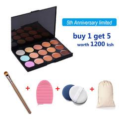 5PCS Makeup Set 15 Colors Concealer Contour Palette Makeup Brush Sponge Brush Wash Egg as picture