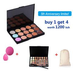 4PCS Makeup Set 15 Colors Concealer Contour Palette Makeup Brush Sponge Brush Wash Egg as picture