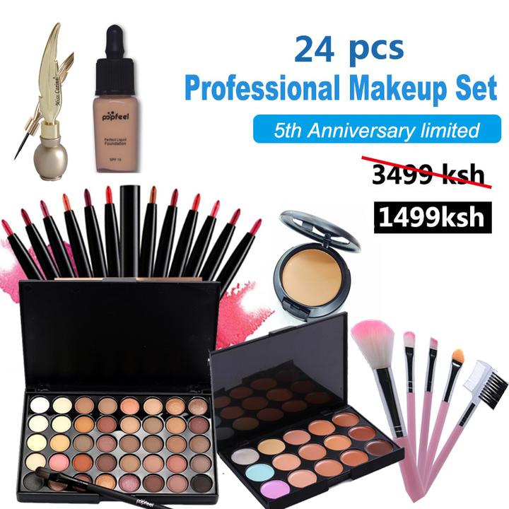 24 pcs Women Value Pack Makeup Set Gift Gel Eyeliner Eye Liner Pen Eyebrow Pencil as picture
