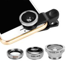 3-in-1 Wide Angle Macro Fisheye Lens Camera Kits Mobile Phone Fish Eye Lenses with Clip silvery as picture