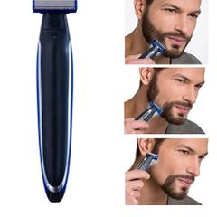 USB Rechargeable Men Shaver Edged Razor Nose Hair Trimmer Multifunction Trims Full Kit Shaver as pics as pic