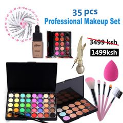 Valentine Gifts 35 Pcs Makeup Set Lipliner Lip gloss Eyeliner Lipstick Makeup Brush Cosmetic Set as picture
