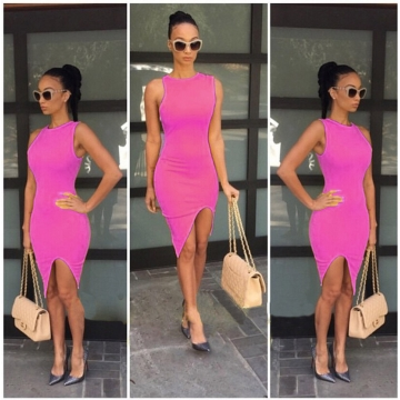 Women's Solid Color Sexy Slim Irregular Hem Short Party Dresses Rose red s