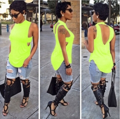 Fashion Women's Backless Hollow Out Sleeveless Irregular Hem Tops T-shirts Fluorescent green M
